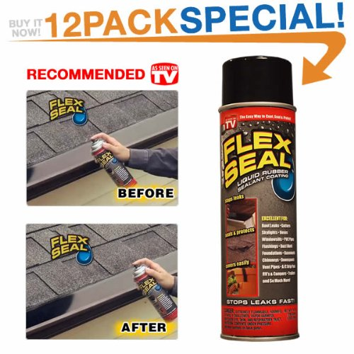 Flex Seal Spray Rubber Sealant Coating, 10-oz, Black (12 Pack)  by Flex Seal