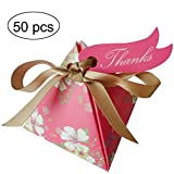 Moleya 50pcs Floral Wedding Candy Gift Boxes with Ribbons for Party Favors and Decoration, Rose