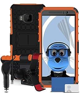 iTALKonline HTC One M9/One M9Prime Camera Negro Tough rígida Impacto prueba robusta Trade-Shop Caso protectora con stand Espacio–Incluye 3Capa LCD Protector de pantalla, 360grados garra Multi direccional salpicadero/Protección contra el viento, caso Compatible y 1000mAh Coche Cargador LED Pantalla y contra sobrecargas