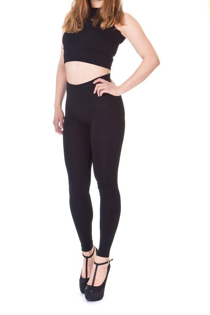 Dani's Choice Premium Basic Cotton Blend High Waist Full Length Leggings (S, Black)
