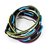 Nice Buckeye Jandmade Multi-strand Three-tone Cotton Rope Adjustable Length Leather Bracelet