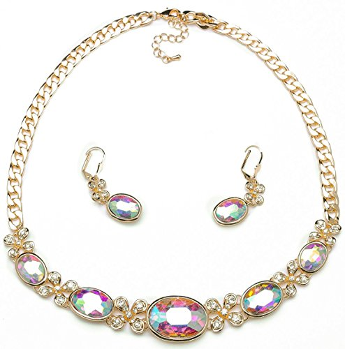 ABAIHSMOON Necklace and Earrings Jewelry Set, Crystal and Artificial Diamonds Design of Bridal Jewelry for Wedding/Dance/Most Events/Gifts