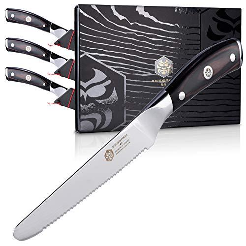 Kessaku Steak Knife 4 Piece Set - Samurai Series - Japanese Etched High Carbon Steel, 5-Inch