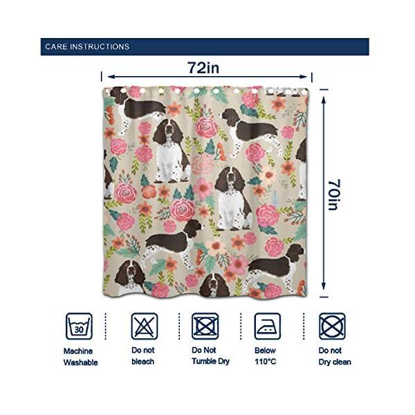 "NiYoung Shower Curtain Decorative Bath Curtain, Bathroom Water-Resistant Bathtub Curtain - English Springer Spaniel, 72"" x 70"" 5"