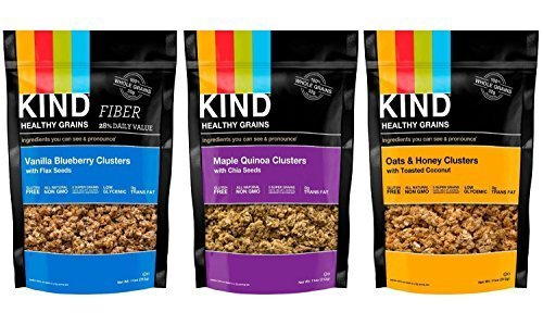 Kind Healthy Grains Clusters- Super Variety Packs 11 Oz (Pack of 3)---- Maple Quinoa W/chia + Vanilla Blueberry W/flax + Oat Honey w/ Toasted Coconut by