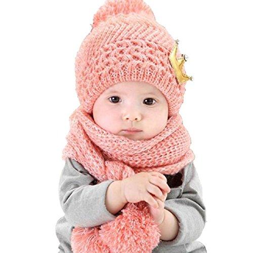 Malloom Niedlich Winter Baby Kinder Mädchen Jungen Warm Woll Haube Kapuze Schal Mützen Hüte (rosa)
