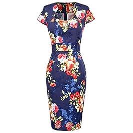 GRACE KARIN Women Vintage Pencil Dress Short Sleeve Bodycon 1950s 39 Colors XS~XXXL 7597