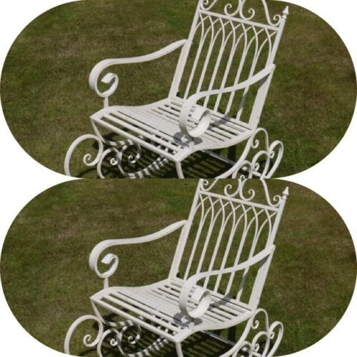 Zwei aus Metall/Stahl Garten Schaukelstuhl in Antik Alt Weiß Innen Außen Veranda