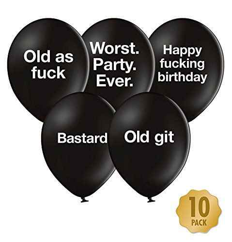 Abusive Birthday Balloons - Pack Of 10 Different Funny Offensive Balloons (For Him)