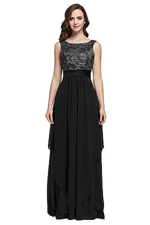 Kumeng Elegant Lace Sleeveless Round Neck Evening Party Dress Bridesmaid Dress Formal Gown Size 2 Black