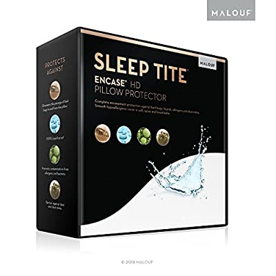 MALOUF SLEEP TITE ENCASE HD Lab Certified Bed Bug Proof Pillow Protector - Hypoallergenic - 100% Waterproof - 15 Year Warranty