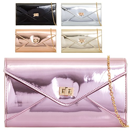 Ladies Bridal Cocktail Patent Clutch Pink Handbag Women's Leather KL2052 Party Evening Bag YrYw8qZ