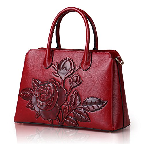Designer Red Floral Unique Cowhide Handle Style Leather Top Handbags Tote Embossed Bags Ladies APHISON BqxdpB