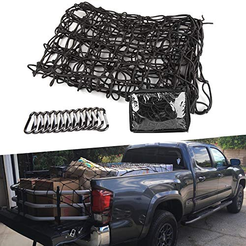 CAR ROVER 4'x6' Super Duty Truck Bed Bungee Cargo Nets Stretches to 8'x12' with 12 Tangle-Free D Clip Carabiners Universal for Pickup Truck SUV Trailer Boat RV