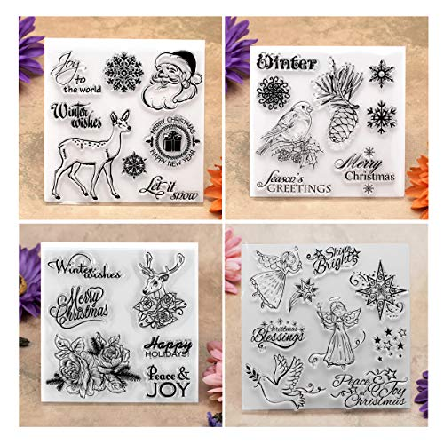 Kwan Crafts 4 Sheets Different Style Winter Christmas Santa Clear Stamps for Card Making Decoration and DIY -