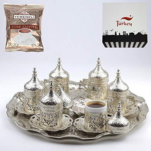 SALE (SET of 6) Ottoman Turkish Greek Arabic Coffee Espresso Serving Cup Saucer Set SILVER (For Cups Espresso Sale)