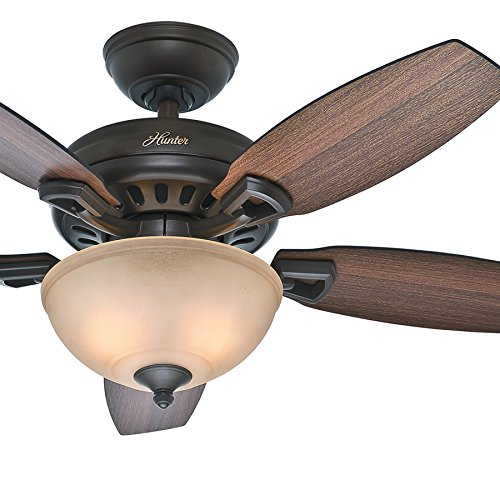 Hunter Fan 44 inch New Bronze Finish Ceiling Fan with a Toffee Glass Light Kit, 5 Blade (Certified ()