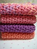 Pink & Purple Spa Bath Set, Housewarming Hostess, Washcloths, Cotton Washcloth, Crochet Bathroom Set, Gift Set for Her, Hostess Gift, Bath & Beauty Set, Spa Bath & Beauty, Back to School Gift