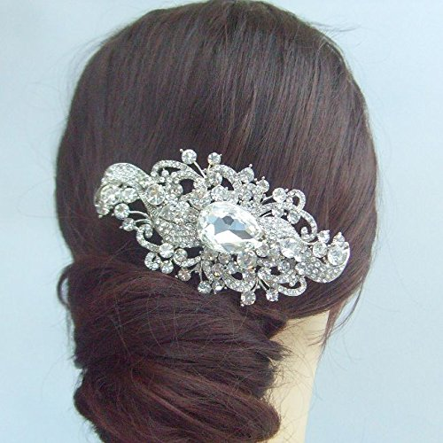 Sindary Wedding Headpiece 4.53 Inch Silver-tone Clear Rhinestone Crystal Flower Hair Comb by Sindary Jewelry (Image #5)