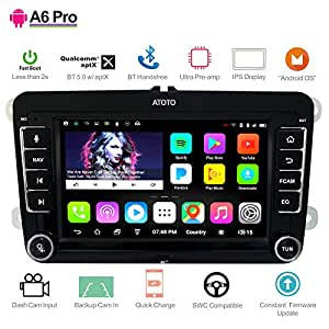 [for Volkswagen/VW] ATOTO A6 Android Car Navigation Stereo - 2X Bluetooth w/aptX & Quick Charge/Ultra Preamplifier - Pro A6YVW721PRB Indash ...