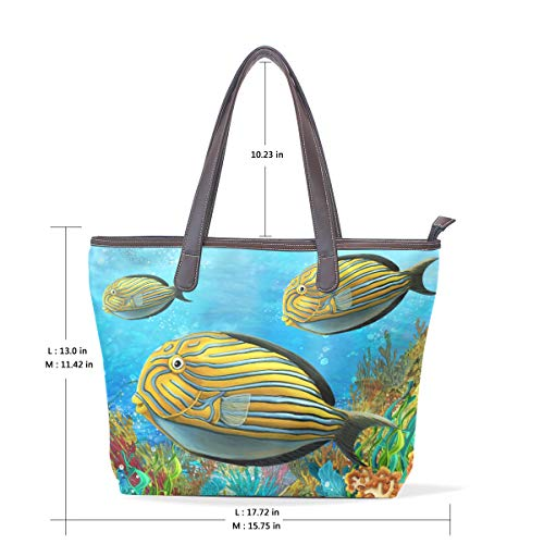 Handle Shoulder and Large Bags Bag Leather Reef Tote Fishes Tote COOSUN Coral Women PU Rf8qaa