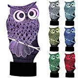ZLTFashion 3D Visual Optical Illusion Colorful LED Table Lamp Touch Animal Night Light Christmas Prank Gifts Romantic Holiday Cute Cool Creative Gadget (Owl 3)