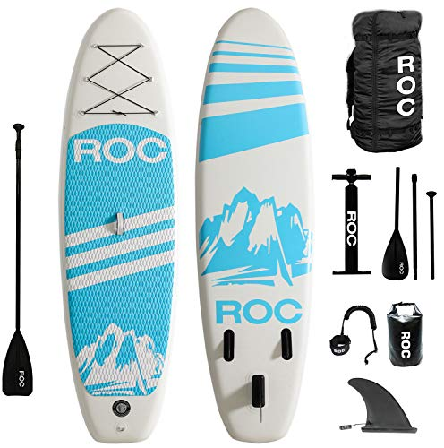 Roc Inflatable Stand Up Paddle Boards W Free Premium SUP Accessories & Backpack { Non-Slip Deck } Bonus Waterproof Bag, Leash, Paddle and Hand Pump !!! Youth & Adult (Blue)