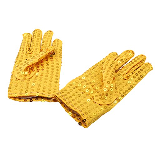 DONGMING Michael Jackson Costume Gloves Children Dress Up Dance Ice Skating Party Sparkling Sequin Gloves Cosplay Halloween -