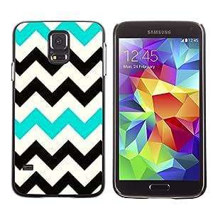 Be Good Phone Accessory // Dura Cáscara cubierta Protectora Caso Carcasa Funda de Protección para Samsung Galaxy S5 SM-G900 // Black Teal White Pattern Clean