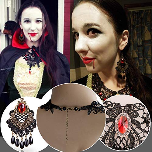 BagTu Black Lace Necklace and Earrings Set, Gothic Lolita Red Pendant Choker for a Halloween Costume - http://coolthings.us
