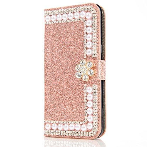 Galaxy S8 Plus Carcasa, Vandot Diamante PU Leather Cuero Cobertura Bookstyle Wallet Cubierta Caja Glitter Bling Diamond Carcasa Con [Flip Case Cover] [Cierre Magnético] [Función de Soporte] [Billetera ZPT 30