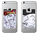 (Two) Marble cell phone stick on wallet card holder phone pocket for iPhone, Android and all smartphones. (White) (White)