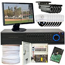 GW Security Inc 12CHH5 High Definition 16-Channel HD DVR with 4 x HD-SDI 2.1 Megapixel and 8 x Analog Security Camera Varifocal Lens, Free Monitor (Black/White)