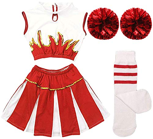 Girls Kids Cheerleader Uniform Costume Soccer Carnival Party Outfit Crop Top with Skirt Knee Socks Match Pom poms Set (Costume Soccer Kids)