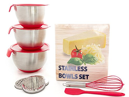 LUXURY SET for Smart Chefs,3 Premium Thick Grade STAINLESS STEEL MIXING BOWLS With Airtight Lids For Healthy Meal,Non-Slip Surface,3 Assorted Grater Attachments,Stackable For Minimal Storage&Gift (Red Square Vegetable Bowl)