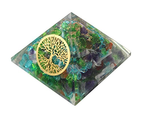 Charged Chakra New Tree of Life and Mixed Gemstones Crystals Resin Pyramid Reiki - Does Polarized Do What