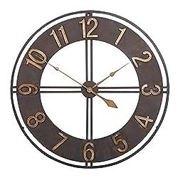 FCZH Retro Vintage Wall Clocks, Wrought Iron Skeleton Hanging Clock Modern Farmhouse Home Living Room Bedroom 3D Decorative Clock,24inch