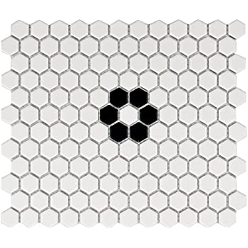 White Hexagon Floor Tile hexagon tile flooring the home depot Somertile Fxlm1hmf Retro Hex With Flower Porcelain Floor And Wall Tile 1025 X 1175 Matte White