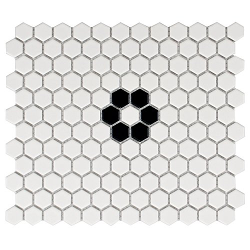 SomerTile FXLM1HMF Retro Hex with Flower Porcelain Floor and Wall Tile, 10.25