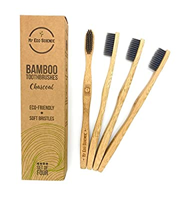 Natural Bamboo Charcoal Toothbrush - Ultra Soft bristles - Set of 4-100% Organic biodegradable handle - BPA free - Individually numbered