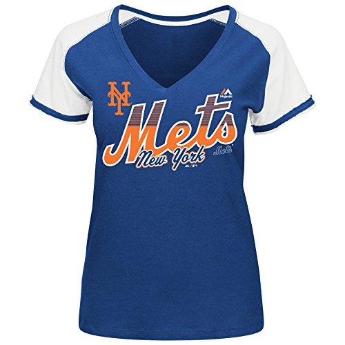 MLB Women's Winners Circle Short Sleeve V-Neck T-Shirt (XXLarge, New York Mets)