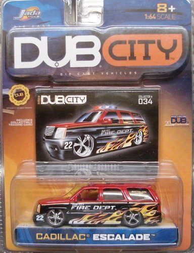 - Jada Dub City Red & Black Fire Dept. Cadillac Escalade with Flames 1:64 Scale Die Cast Car
