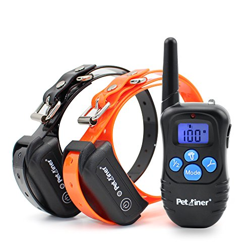 Petrainer PET998DBB2 100% Waterproof and Rechargeable Dog Shock Collar 330 yd Remote Dog Training Collar with Beep/Vibra/Shock Electric (Dog Shock Collar)