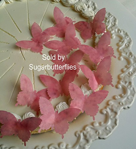 Edible Cherry & Pink Blossom Wafer Butterflies Cake/cupcake Toppers Set of 12