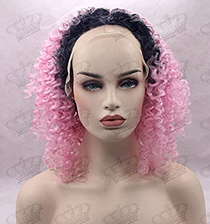 Amazon.com : Beauty_temptation Ladies Ombre Black/Baby Pink Afro Kinky Curly Glueless Synthetic Lace Front Wig : Beauty