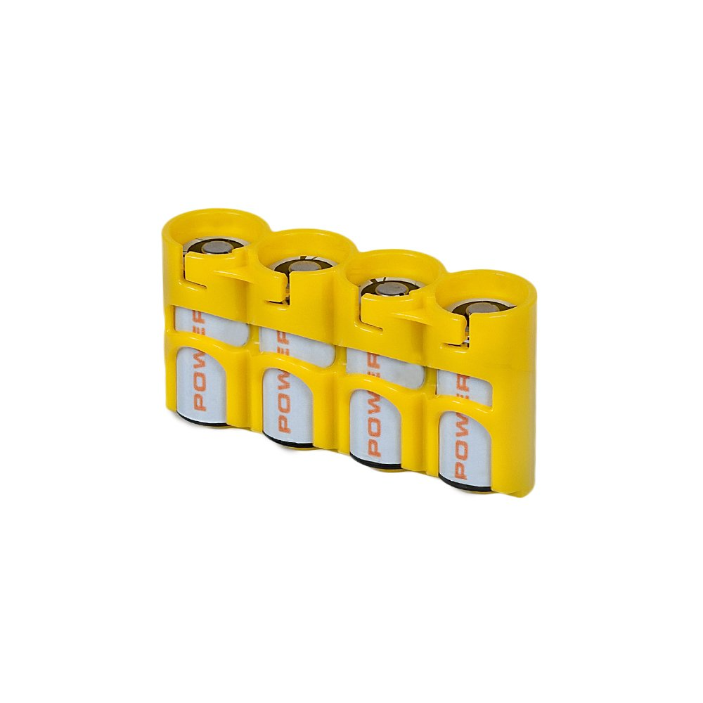 Storacell by Powerpax SlimLine CR123 Battery Caddy, Yellow, Holds 4 Batteries