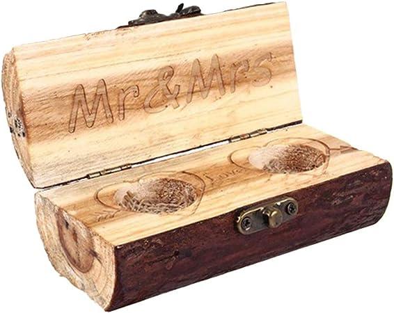 Vosarea - Caja de madera para anillos de boda o boda: Amazon.es: Hogar