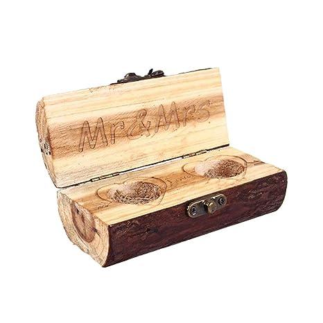 Vosarea - Caja de madera para anillos de boda o boda