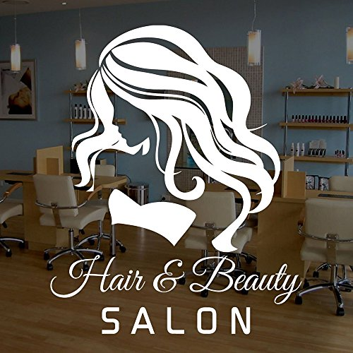 "Homefind (21.6""w x 26.7""h) Removable Hair & Beauty Salon - Beautiful Woman with Long Hairs Wall Stickers Girls Room Barbershop Hairdresser's Glass Wall Decals Vinyl Art Home Decor"