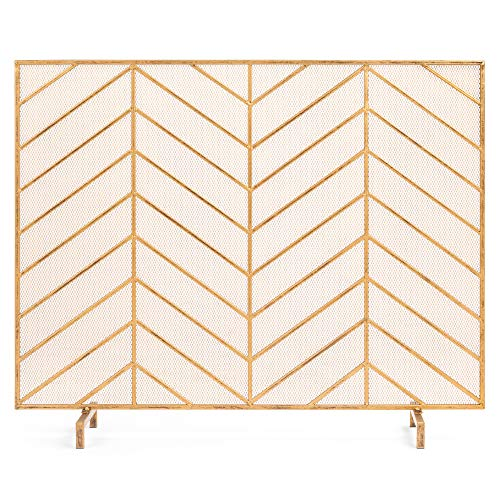 Best Choice Products 38x31in Single Panel Handcrafted Wrought Iron Mesh Chevron Fireplace Screen, Fire Spark Guard w/Distressed Antique Copper Finish